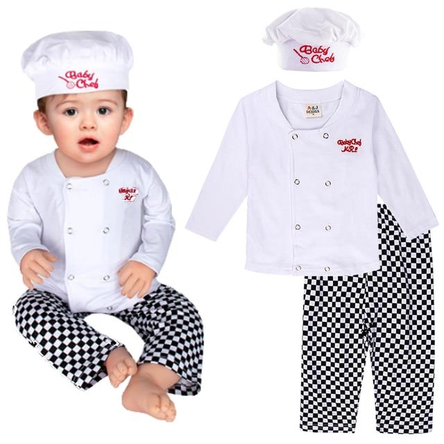 Conjunto de disfraz de cocinero para bebé, conjunto de disfraces de Halloween para niños, disfraz de cocinero para niños, ropa de fiesta de carnaval, 3 uds.