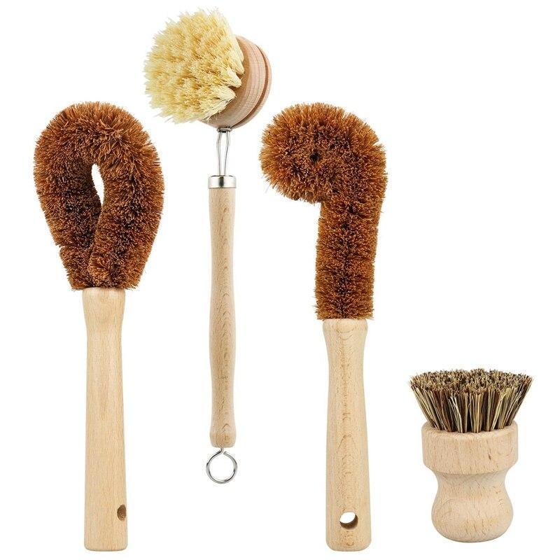 Ev ve Bahçe'ten Temizlik Fırçaları'de Bitki bazlı temizlik fırçası seti 4 parça  kayın ahşap ve hindistan cevizi kıl ahşap tava ve Pot temizleme fırçası şişe fırçası bulaşık B title=
