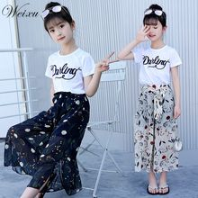 Summer 2019 toddler Girl Clothes Top T Shirt Flower Chiffon Pants 2PCS Clothes Set for Teenage Girls 6 8 10 12 14 Years Old toddler girls clothes size 10 boutique coat t shirt jeans pants age 6 8 10 12 years old autumn children clothing girls sets