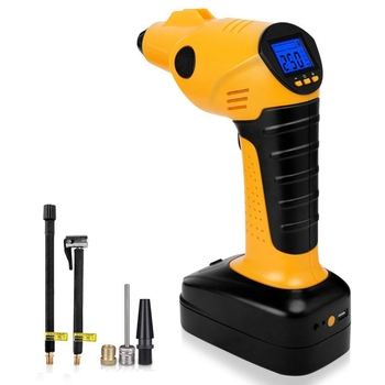 Portable Air Compressor Cordless Tire Inflator With Digital Display,Led Lighting,Tire Pressure Gauge 12V Perfect For Car Bicycle