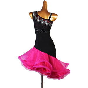 Image 2 - Latin Dance Competition Dresses Adult/Child Latin Dance Costume Women/Girls Sexy Diamond Skirt Samba/Salsa Stage Clothes DQL2943