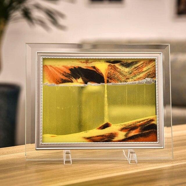Marco de imagen de arena móvil, pintura de paisaje líquido, foto de cristal, adornos de escritorio, pintura de arena que fluye con visión 3D con marco de fotos