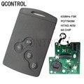 QCONTROL 4 кнопки Smart Remote Key смарт-карта 433 МГц PCF7945/7953 чип для Renault Clio IV Captur uncut VA2 blade 4A чип