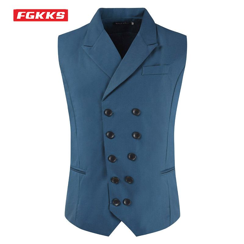 FGKKS 2021 Fashion Suit Vest Men Solid Color Double Breasted Slim Fit Sleeveless Waistcoat Casual Suit Vests For Men M-7XL
