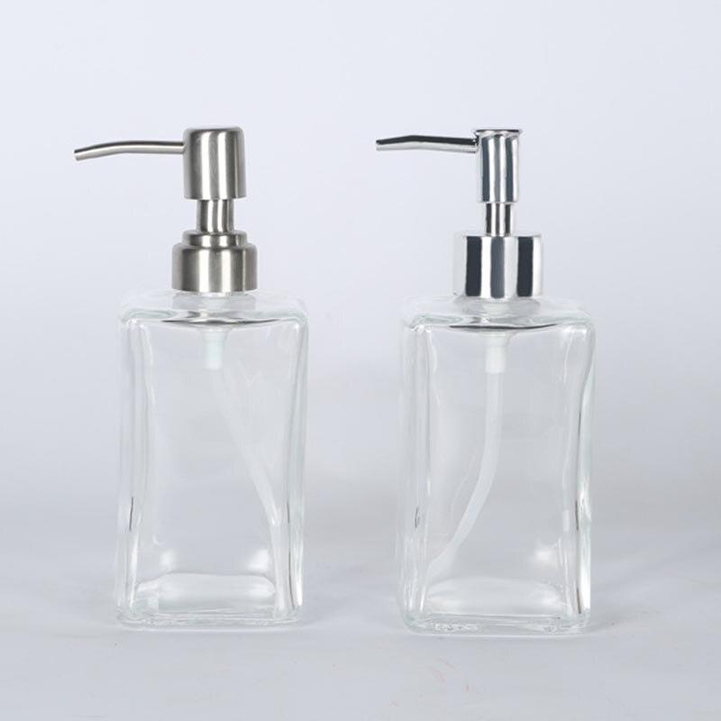 Glass Shampoo Dispenser Stainless Steel Pump Liquid Soap Essential Oils Lotions Bottle PAK55