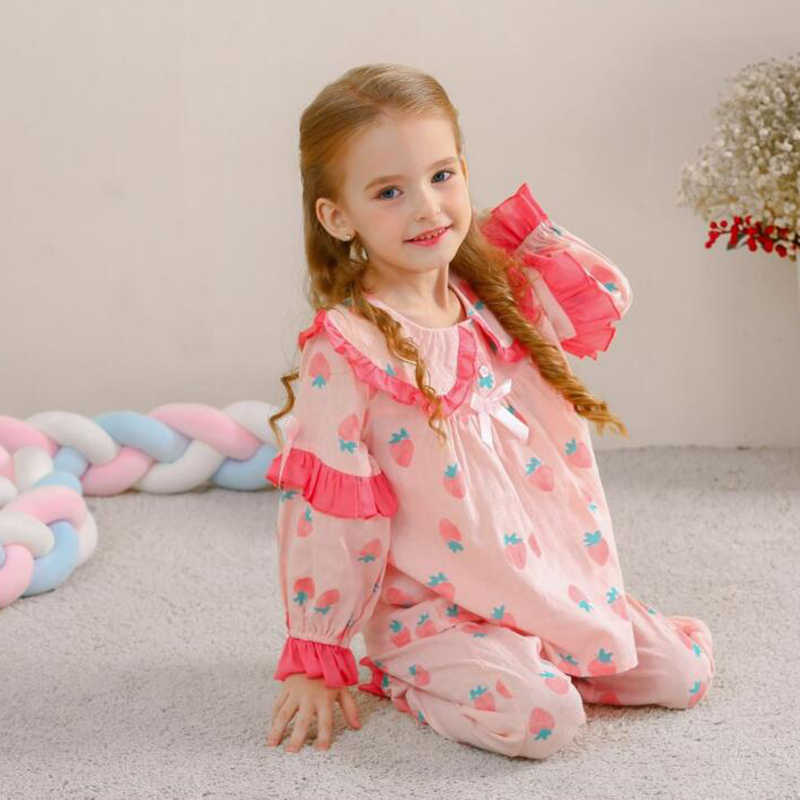 Children Girl Pajamas Floral Print Long-Sleeves Ruffle 2pcs Lovely Clothes Sets