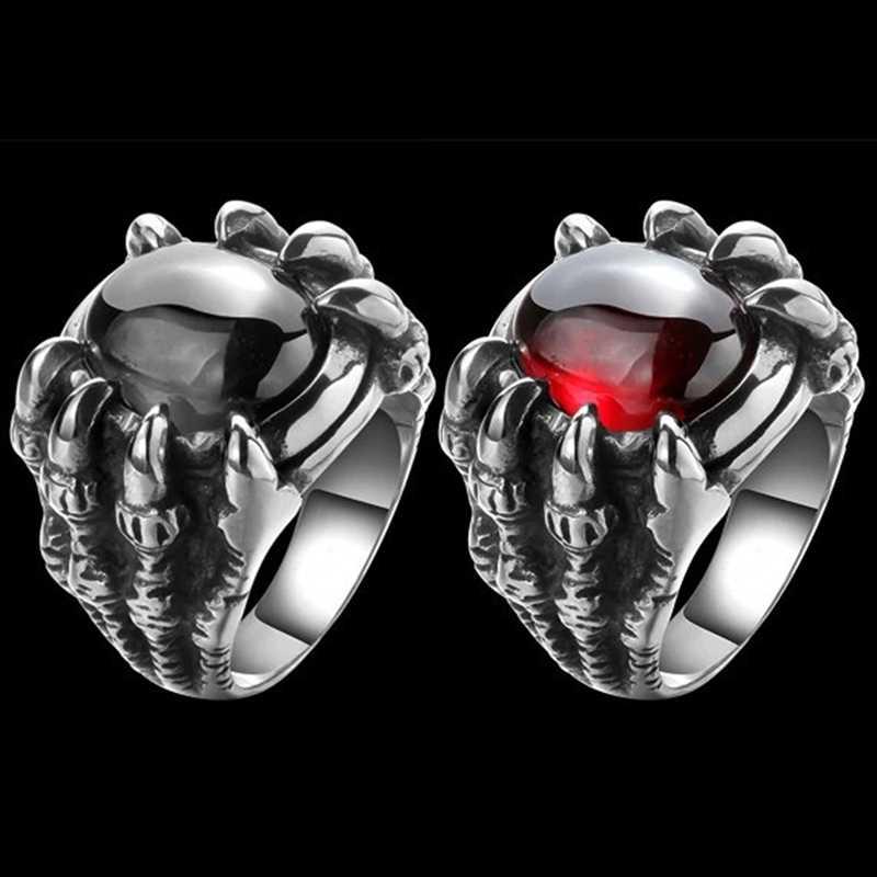 Dragon Claw Retro Punk Goth Black หินสีแดง Men's Cast แหวนโกธิค Punk Men Bijoux ชายแหวนพลอยอัญมณีสีแดง