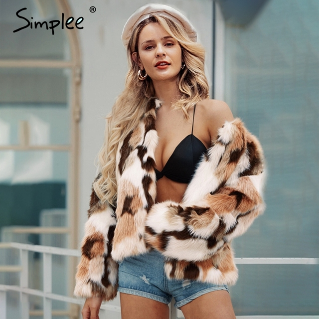 Simplee 2019 New winter fake fur V-neck buttons coats women Elegant fluffy long sleeve jackets Female warm office casual outwear