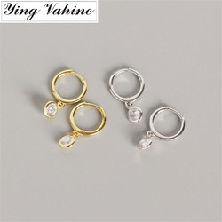 Ying Vahine 100% 925 Sterling Silver Pequeno Rodada CZ Pingente Brincos Do Parafuso Prisioneiro para As Mulheres