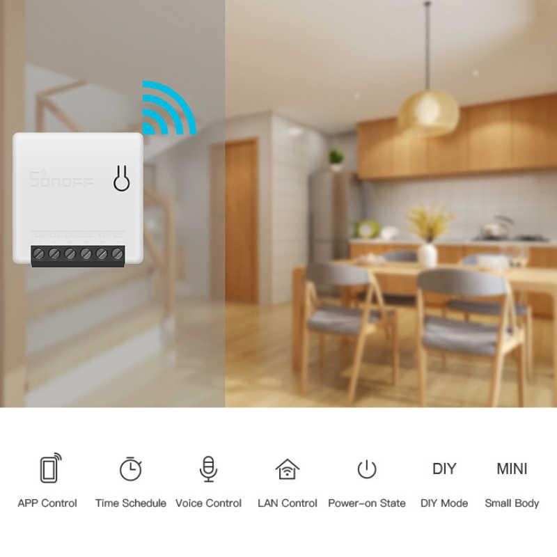 Sonoff MINI Aplicación de bricolaje Control remoto inteligente temporizador Programa de estado de encendido de voz modo DIY Wifi inteligente de dos vías interruptor de casa inteligente