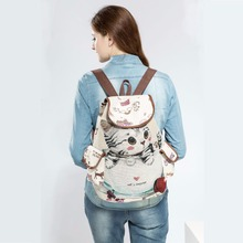 Outing backpack casual canvas schoolbag female cute cat print drawstring backpack youth large capacity ladies schoolbag canvas drawstring colour block backpack