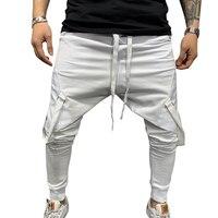 WENYUJH 2019 Autumn Men's Stylish Elastic Waist Solid Drawstring Pants Jogging Tracksuit Pants Sweatpants Beam Foot Sports Pants