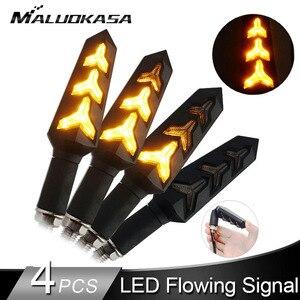 Image 1 - 4 قطعة LED بدوره إشارات للدراجات النارية تدفق المياه وقف إشارة بنيت التتابع الوامض دراجة نارية السهام انحناء ضوء الفرامل المتعري