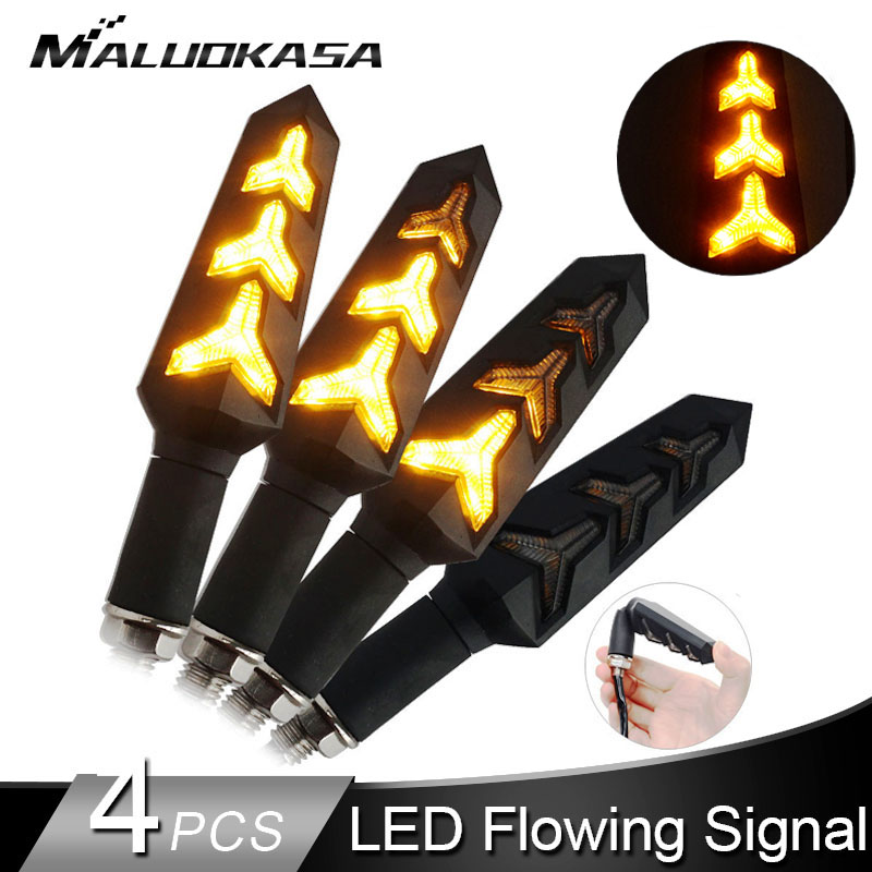 4pcs LED Turn Signals For Motorcycle Flowing Water Stop Signal Built Relay Blinker Motorbike Arrows Bendable Brake Light Flasher