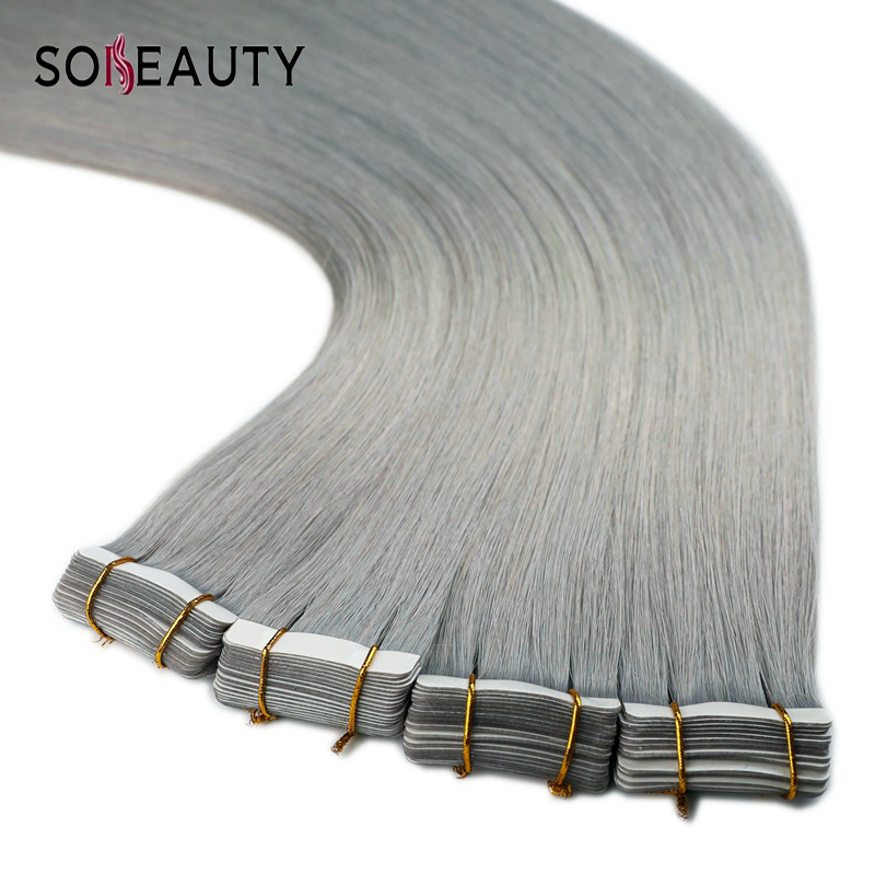 Sobeauty Tape In Human Hair Extensions 20ps/pack Silky Straight PU  Skin Weft Grey Color Remy Hair Extension Double Drawn Hair