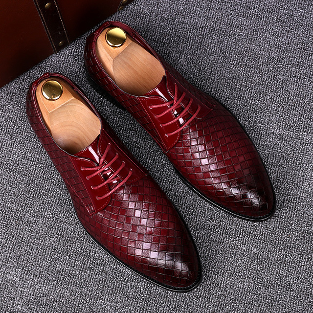2020 Formal Leather Shoes Men Dress Business Shoes Male Geometric Red Oxfords Party Wedding Casual Men's Flats Chaussure Homme55