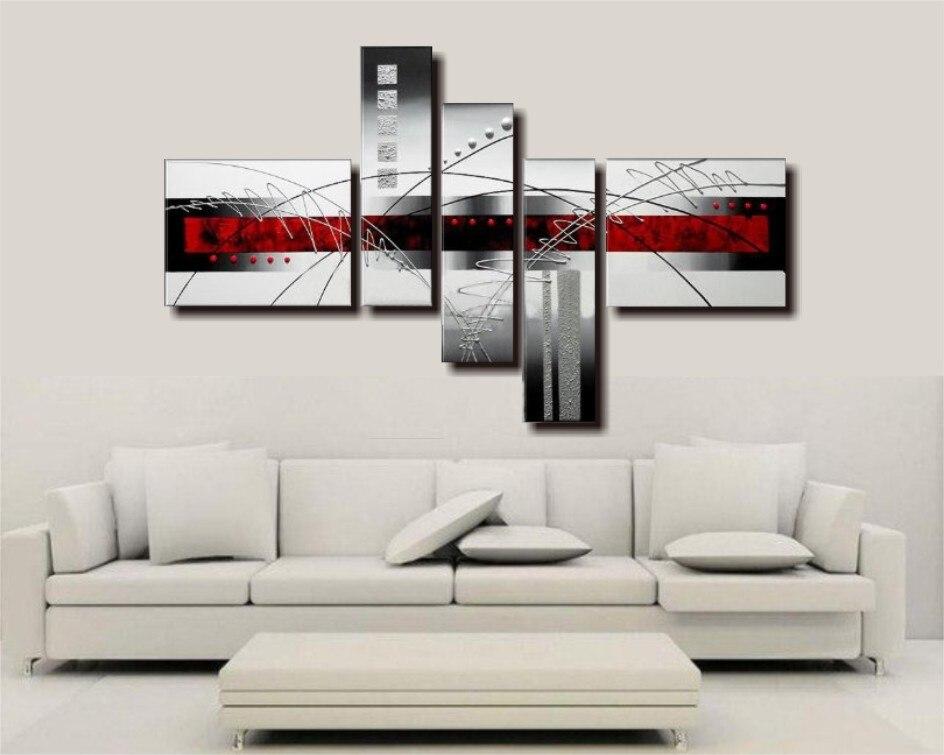 Hand Bemalt Ölgemälde 5 Stück Rot Schwarz und Weiß Abstrakte Kunst Moderne Wohnkultur Wand Kunst Gruppe Malerei hause Dekorative Pa - 2