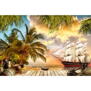 Image 3 - Funnytree הרפתקאות צילום פיראטים רקע סירת קוקוס עץ קיץ ספינה עץ יום הולדת רקע מסיבת שיחת וידאו photozone