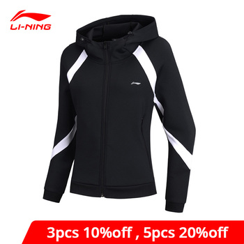 Li-Ning Women Training Hoodie Loose Fit 92% Polyester 8% Spandex LiNing li ning Sports Hooded Sweater Coat AWDN778 WWW1004