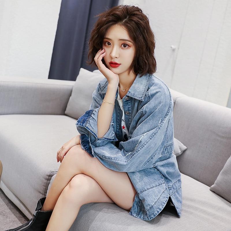 Синяя Куртка Пальто Женская 2019 весна и осень Новый стиль корейский стиль Универсальный Гонконгский стиль ретро BF Студенческая крутая куртк... - 3