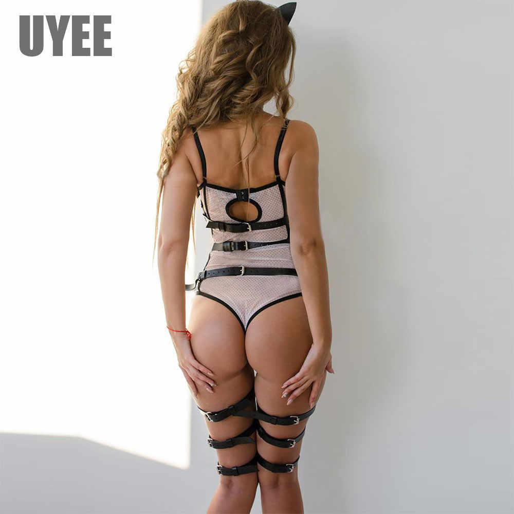 UYEE Women Suspender 2pcs Garter Sets For Women Lingeire BDSM Stockings Leather Harness Straps Body Suspenders Harajuku Garters