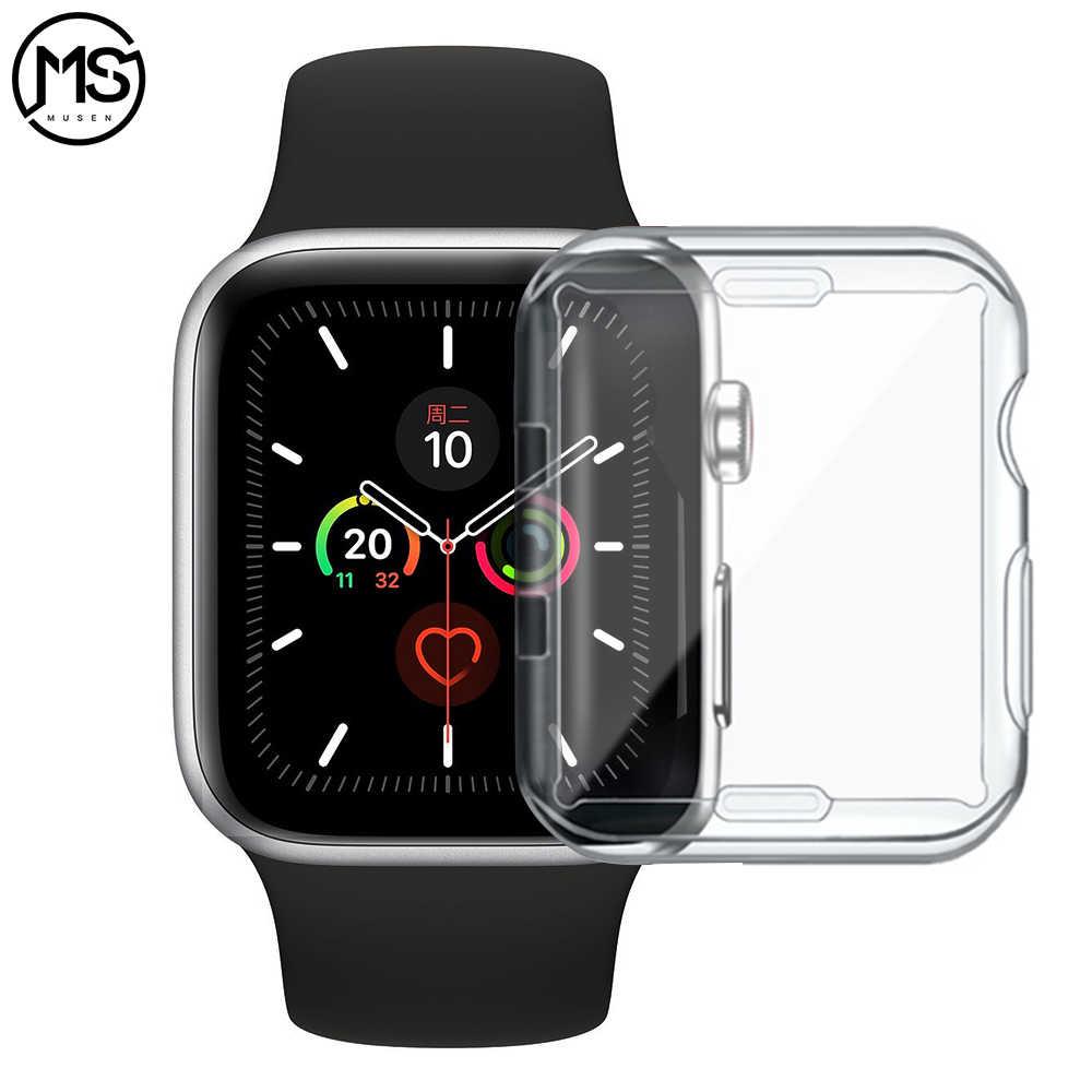 Dla Apple Watch Case 4 3 2 1 40MM 44MM 360 wbudowany przezroczysty z TPU na ekran obudowa ochronna etui na cały telefon dla Iwatch 5 38MM 42MM accessorie