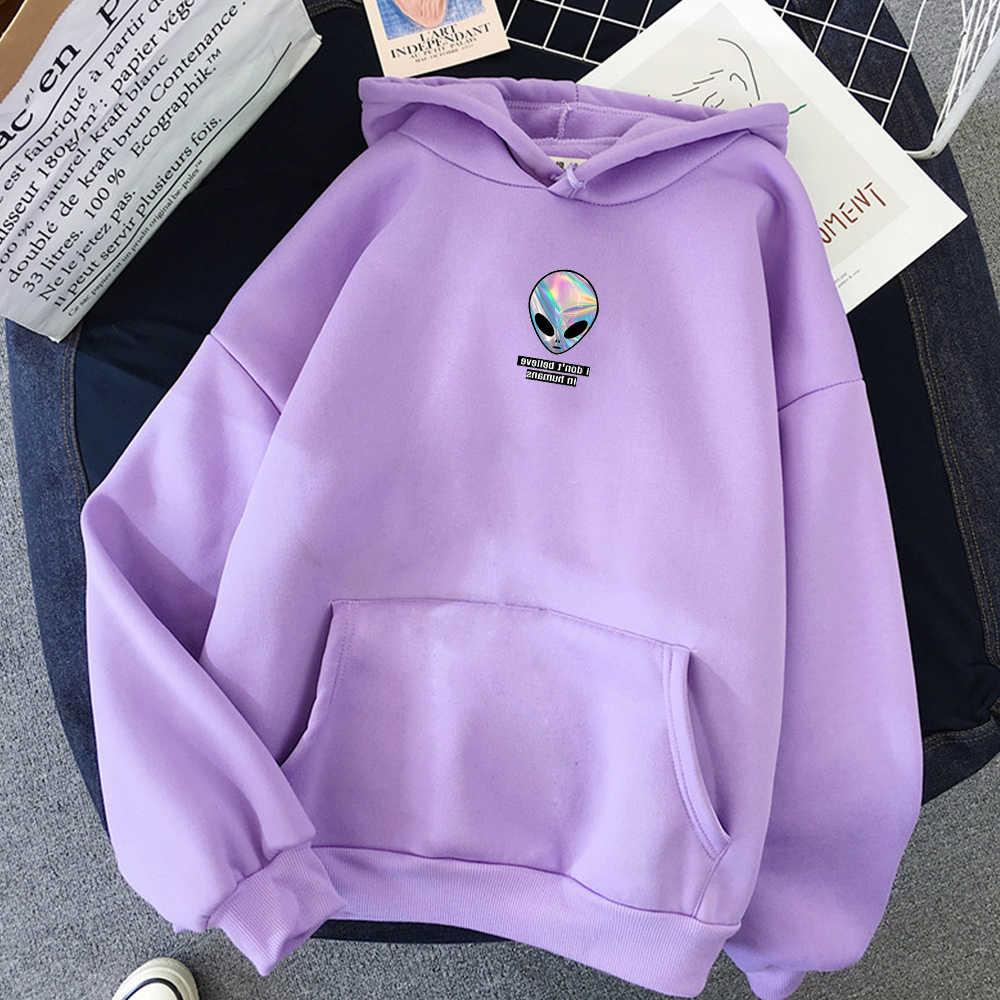 Alien מכתב הדפסת פאנק סווטשירט חורף היפ הופ Streetwear Harajuku סלעית מעיל חולצות נשים ארוך שרוולים כיס עבור בנות