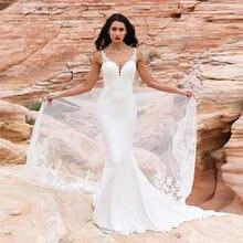 Пляжное свадебное платье с кружевной аппликацией и пуговицами