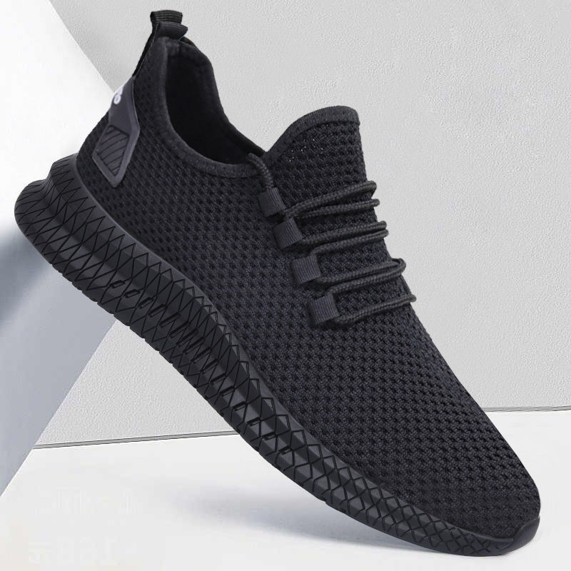Men Sneakers Black Mesh Breathable Running Sport Shoes Male Lace Up Non slip Men Low Athletic Sneakers Casual Men Shoes