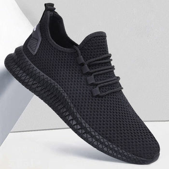 Men Sneakers Black Mesh Breathable Running Sport Shoes Male Lace Up Non-slip Men Low Athletic Sneakers Casual Men Shoes Running Shoes