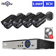 Hiseeu h.265 + 8ch 5mp ahd dvr kit sistema de cctv 4 pçs 1080p 1920p hd ao ar livre à prova dp2p água bala câmera p2p segurança vigilância conjunto
