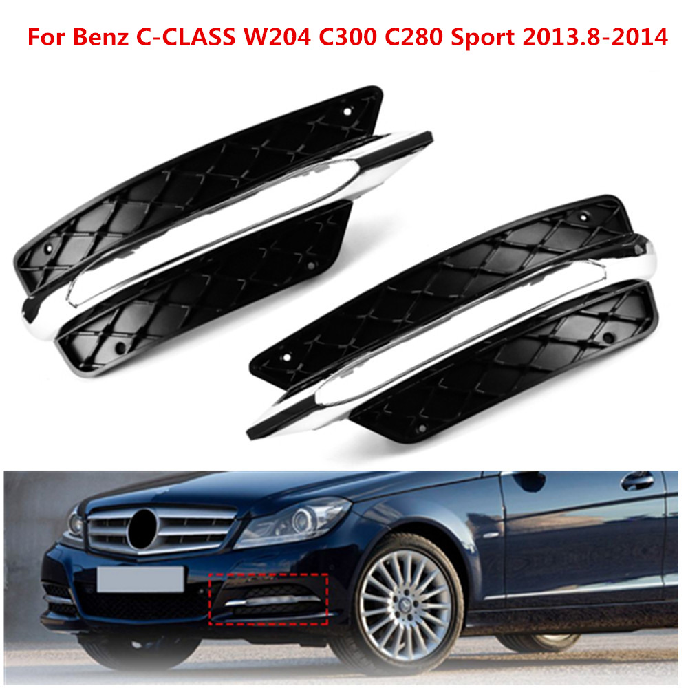Pair L/R Front Bumper DRL <font><b>Grill</b></font> Daytime Running Light Lamp Cover For <font><b>Benz</b></font> C-Class <font><b>W204</b></font> 2013.8-2014 image