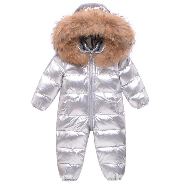 -30 Russia Winter White Duck Overalls Snowsuits Baby Kids Boys Girls Thick Down Coat Clothes Toddler Infant Warm Parka Jacket 3Y 4