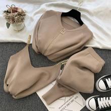 Женский трикотажный комплект из трех предметов, милый Трикотажный жилет с цепочкой и эластичные брюки, Осень-зима 2020