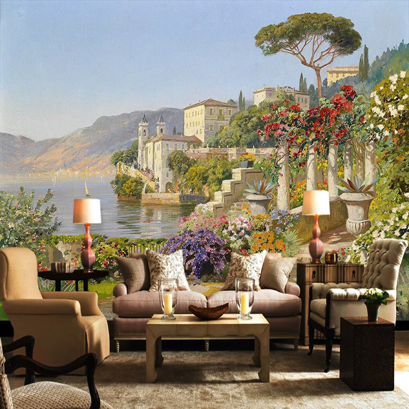 Custom Photo Wallpaper 3D Aegean Sea Landscape Oil Painting Murals Living Room Dining Room Backdrop Wall Decor Papel De Parede