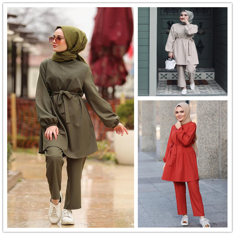 WEPBEL Women Clothes Set Arab Girls Muslim Fashion Two-Piece Suit Women's Long Sleeved Kit Ramadan Islamic Clothing Set