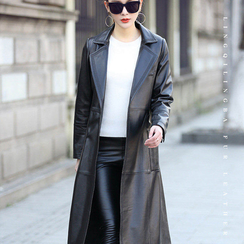 Genuine Leather Jackets Women Long Trench Coat Natural Sheepskin Coat Female Korean Spring Autumn Clothes 2020 LWL1455