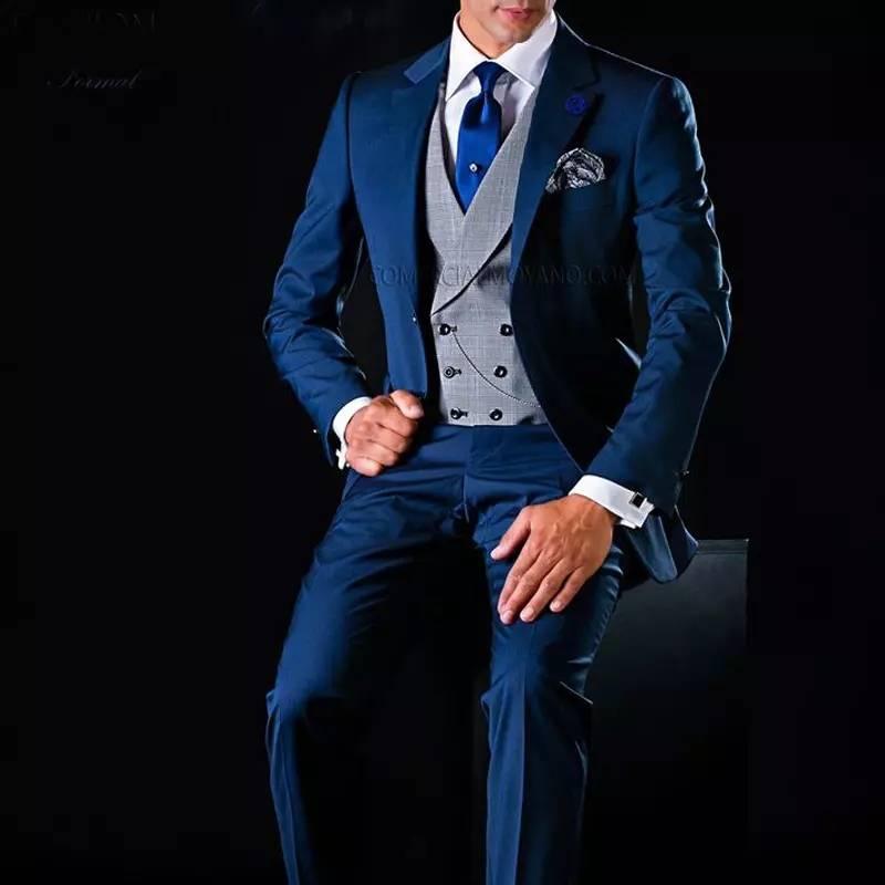 Costume Homme 2021 Men Suits For Wedding Navy Blue Suits Groom Blazer Tuxedo Smoking Jacket 3 Piece Slim Fit Terno Masculino
