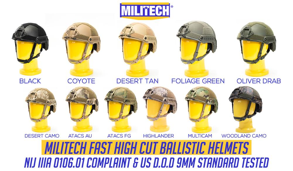Militech Ballistic Helmet NIJ Level IIIA 3A ISO Certified FAST OCC Dial High Cut XP Cut Aramid Bulletproof Helmet With HelmetBag