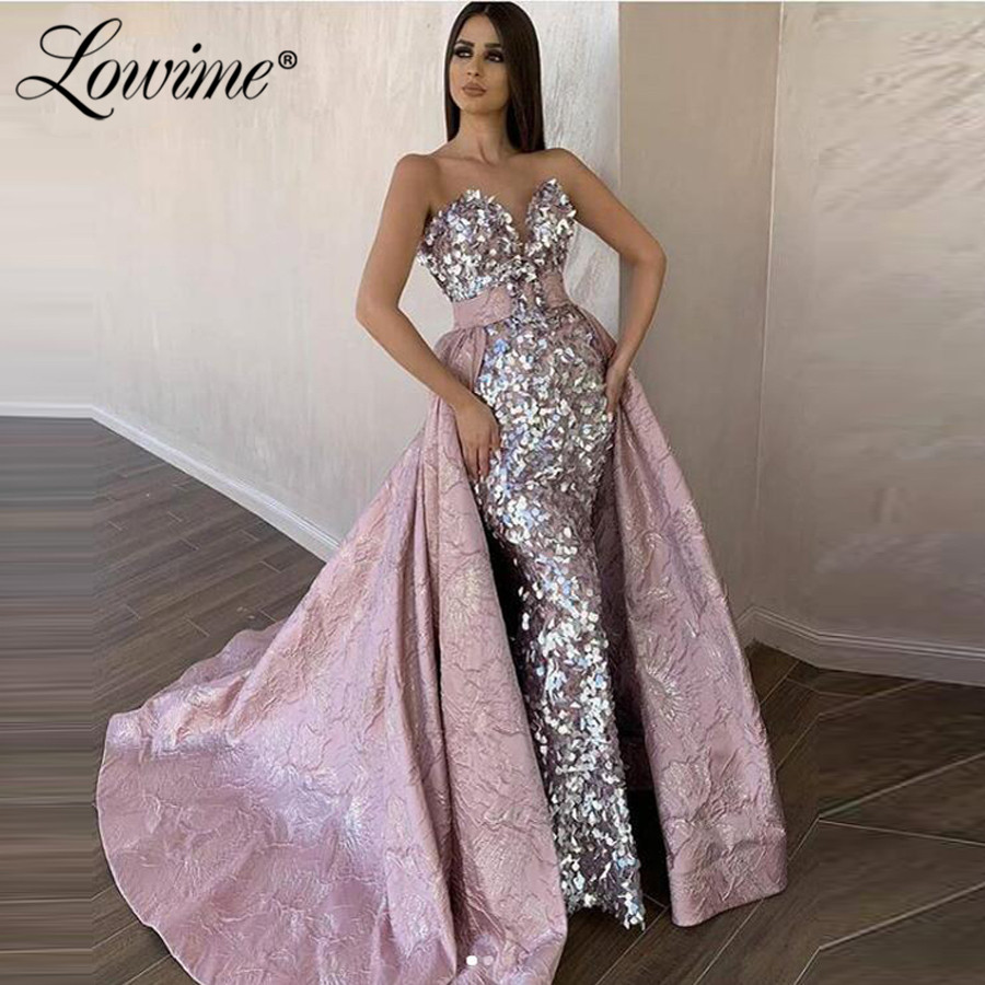 Pink Luxury Evening Dresses With Detachable Train Dubai Moroccan Saudi Arabia Formal Party Dress 2020 New Arrival Prom Dresses
