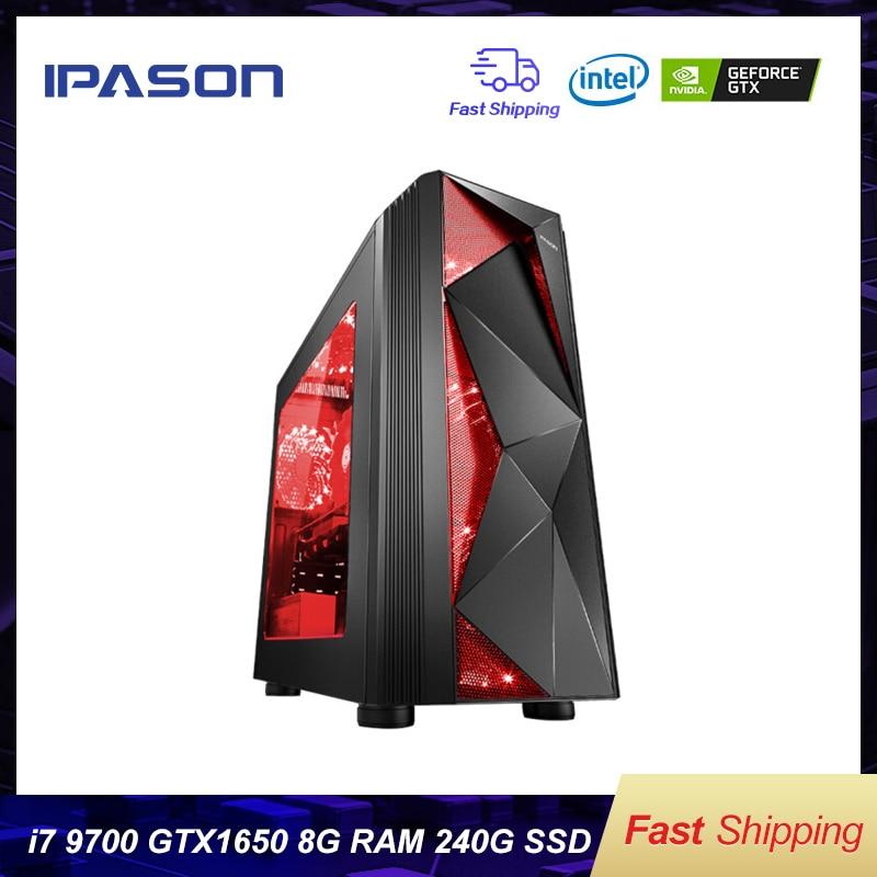 Ordinateur de bureau IPASON Intel i7 9700 GTX1050TI 4G/GTX1650 4G 240G SSD 8G DDR4 RAM pour jeu PUBG assemblage ordinateurs de bureau de jeu