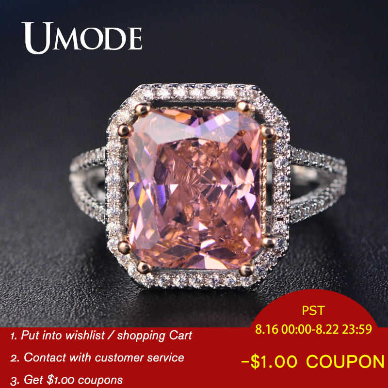Wedding-Rings UMODE Cubic-Zirconia-Ring Engagement Luxury Jewellery Pink Vintage Fashion