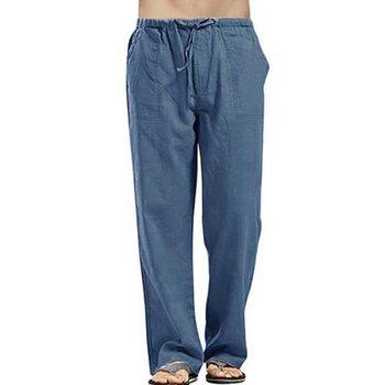 Męskie spodnie na co dzień luźna bawełniana i lniana fajne spodnie z kieszeniami odzież męska ropa hombre elastyczne spodnie do biegania męskie spodnie tanie i dobre opinie Litthing Proste CN (pochodzenie) Mieszkanie Linen Poliester NONE Luźne men pants Midweight Suknem Pełnej długości Sznurek