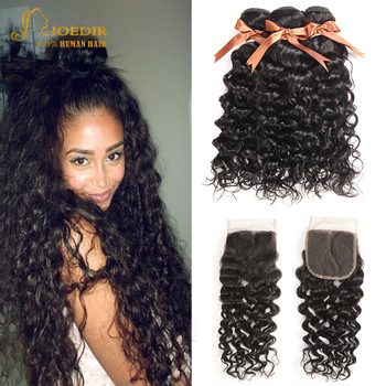 Joedir Water Wave Bundles With Closure Brazilian Human Hair Weave Bundles With Closure 3 Remy Wet And Wavy Bundles With Closure