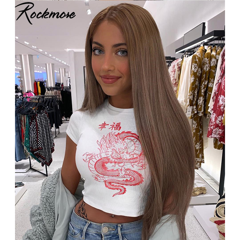 Rockmore White Chinese Character Dragon Print T Shirt Women Bodycon Casual Tshirt T-Shirt Femme Streetwear Tops Tee Shirt Summer