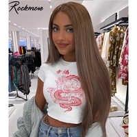 Rockmore White Chinese Character Dragon Print T Shirt Women Bodycon Casual Tshirt T-Shirt Femme Streetwear Tops Tee Shirt Summer