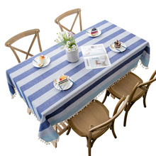 Stripe Two Tone  Decorative Linen Tablecloth With Tassel Waterproof Oilproof Rectangular Wedding Dining Table Cover Table Cloth tassel decor two tone shopper bag