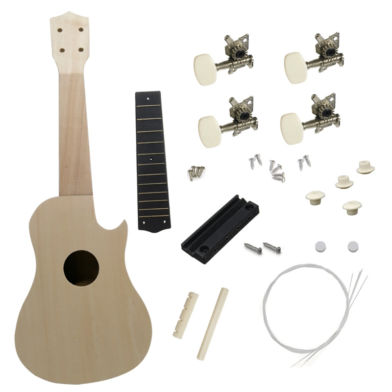 21 Inch Ukulele DIY Kit Hawaii Guitar Soprano Ukelele Support Painting Kids Children Musical Instrument Toys