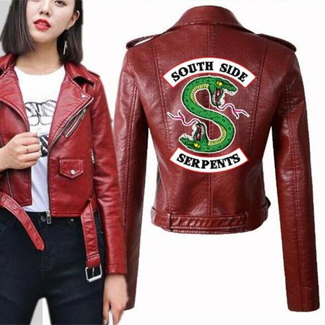 Blouson en cuir PU femme, running Riverdale, mode amérique, Kpop, blouson pour moto Southside, blouson en cuir artificiel, 2019