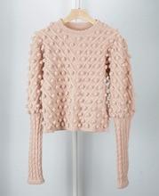 Suéter para mujer, punto, hecho a mano, Bola de uñas, Mohair, dulce rosa, manga de linterna, suéter de lana para mujer